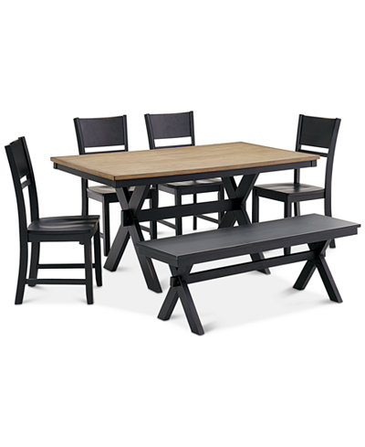 Archer Dining Furniture 6 Pc Set Table 4 Side Chairs
