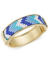 INC International Concepts Gold-Tone Blue & White Stone Hinged Bangle Bracelet, Created for Macy's