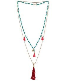 Gold-Tone Beaded Double-Row Red Tassel Necklace