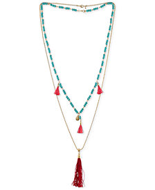 RACHEL Rachel Roy Gold-Tone Beaded Double-Row Red Tassel Necklace