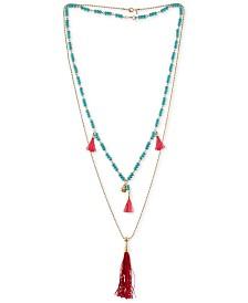 RACHEL Rachel Roy Gold-Tone Beaded Double-Row Red Tassel Necklace