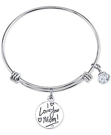 Unwritten Two Tone Crystal Mom Charm Bangle Bracelet In Stainless Steel