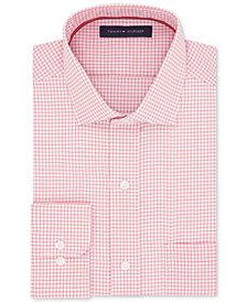 Tommy Hilfiger Men's Classic/Regular Fit Non-Iron Red Mini-Check Cotton Dress Shirt