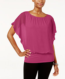 JM Collection Petite Banded-Hem Blouson Top, Created for Macy's