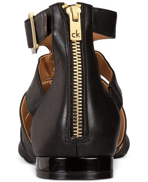 dfe32cd98f7b Calvin Klein Women s Estes Gladiator Flat Sandals   Reviews ...