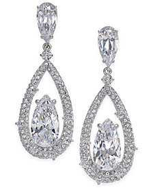 Danori Silver-Tone Cubic Zirconia Drop Earrings, Created for Macy's