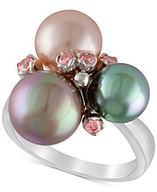 Majorica Sterling Silver Pink Cubic Zirconia & Colored Imitation Pearl Ring