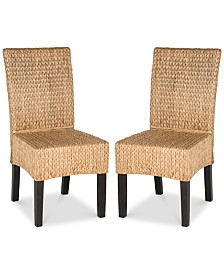 Galendo Set of 2 Wicker Dining Chairs, Quick Ship