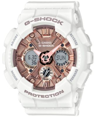 Image of G-Shock Women's S Series Analog-Digital White and Rose Gold-Tone Watch 46mm GMAS120MF7A2