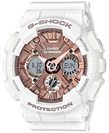 17f80e8a0c45 G-Shock Women s S Series Analog-Digital White and Rose Gold-Tone Watch
