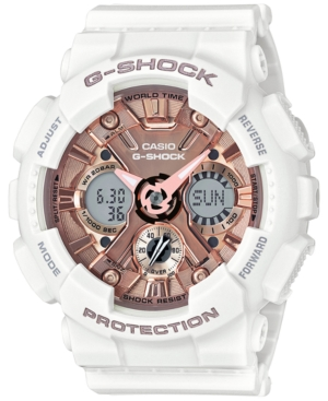 Women's S Series Analog-Digital White and Rose Gold-Tone Watch 46mm GMAS120MF7A2