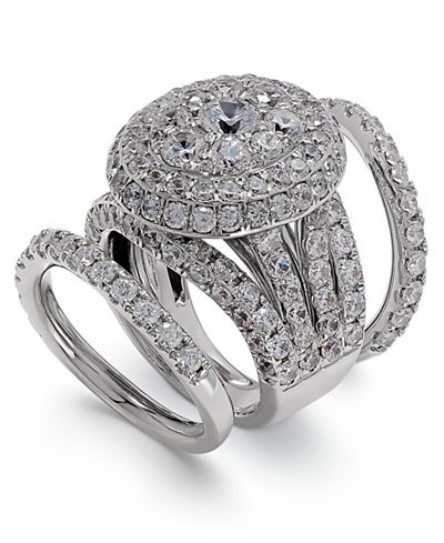 Diamond Round Cluster Bridal Set (7 ct. t.w.) in 14k White Gold