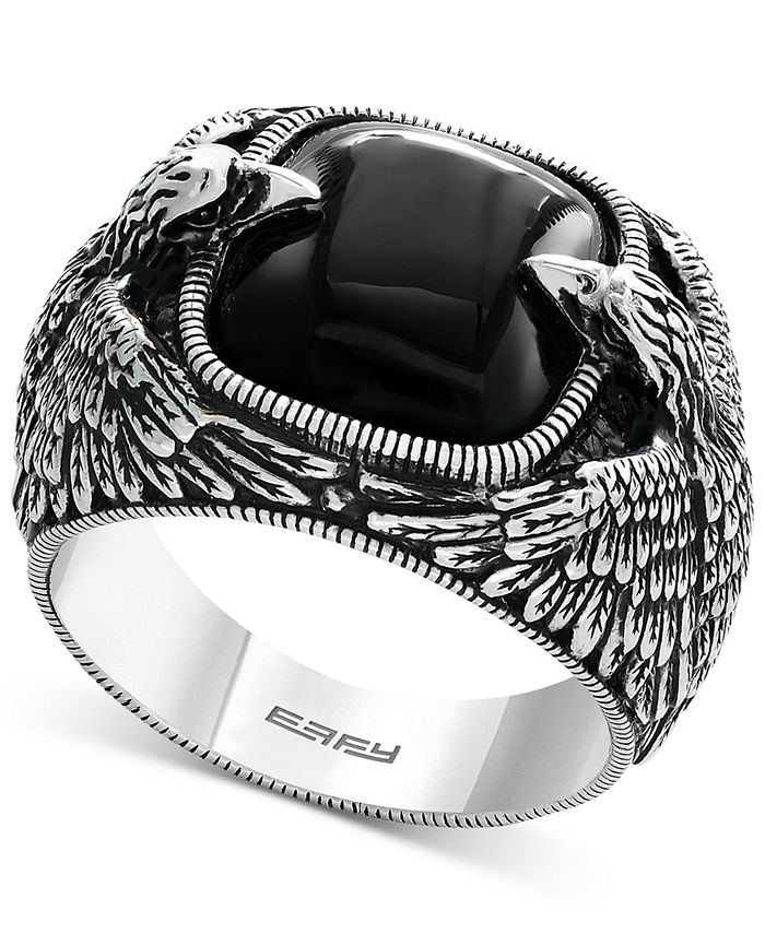 EFFY Collection - Men's Onyx Eagle Ring (10 ct. t.w.) in Sterling Silver
