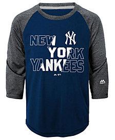 Majestic New York Yankees Box Seats Raglan Ultra T-Shirt, Big Boys (8-20)