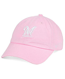 '47 Brand Women's Milwaukee Brewers Pink/White Clean Up Cap