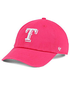 '47 Brand Women's Texas Rangers Pink/White Clean Up Cap