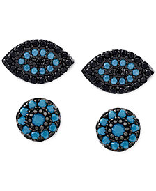 2-Pc. Set Manufactured Turquoise Evil-Eye and Oval Stud Earrings in Sterling Silver