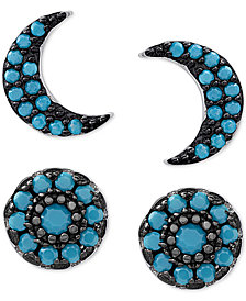 2-Pc. Set Manufactured Turquoise Moon Stud Earrings Set in Sterling Silver