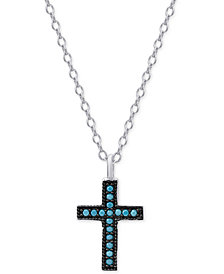 Manufactured Turquoise Cross Pendant Necklace in Sterling Silver