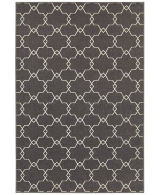 "CLOSEOUT!  Soleil Jagged Charcoal 3'3"" x 5' Indoor/Outdoor Area Rug"