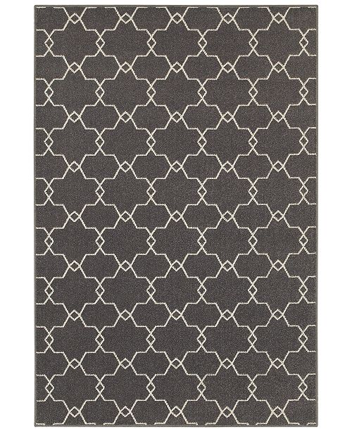"JHB Design CLOSEOUT!  Soleil Jagged Charcoal 7'10"" x 10'10"" Indoor/Outdoor Area Rug"