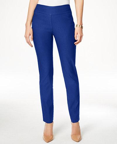 Charter Club Petite Cambridge Tummy-Control Slim-Leg Pants, Created for Macy's