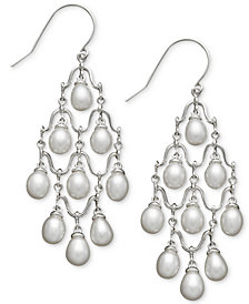 Cultured Freshwater Pearl Chandelier Earrings in Sterling Silver (6mm)