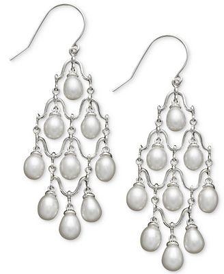 cultured freshwater pearl chandelier earrings in sterling silver
