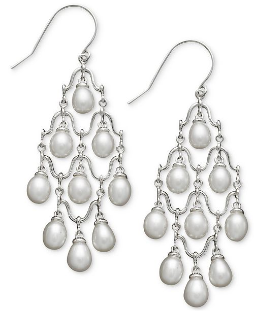 Macys cultured freshwater pearl chandelier earrings in sterling main image main image aloadofball Images