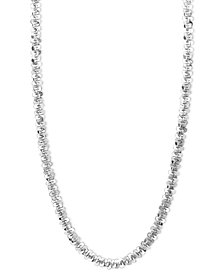 """14k White Gold Necklace, 24"""" Faceted Chain (1-1/2mm)"""