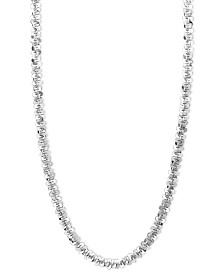 "14k White Gold Necklace, 24"" Faceted Chain (1-1/2mm)"