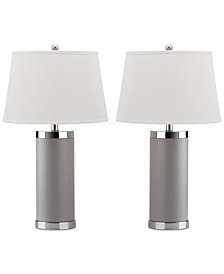 Set of 2 Leather Column Table Lamps