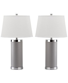 Safavieh Set of 2 Leather Column Table Lamps