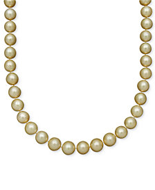 Belle de Mer Pearl Necklace, 14k Gold Cultured Golden South Sea Pearl Strand (10-12mm)