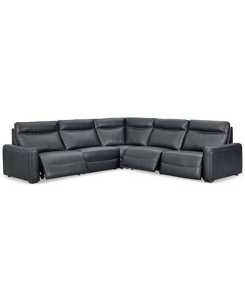 Fabulous Marzia 5 Pc Leather Sectional With 3 Power Recliners Created For Macys Inzonedesignstudio Interior Chair Design Inzonedesignstudiocom