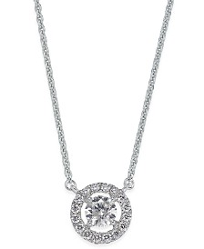 Diamond Halo Pendant Necklace (1/2 ct. t.w.) in 14k White Gold