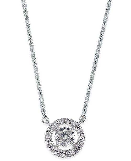 Macy's Diamond Halo Pendant Necklace (1/2 ct. t.w.) in 14k White Gold
