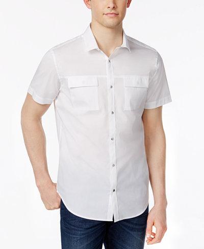 Calvin Klein Men's Stretch Snap-Front Dual-Pocket Shirt