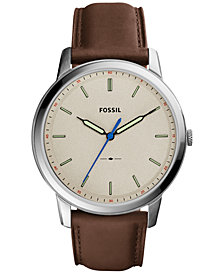 Fossil Men's The Minimalist Brown Leather Strap Watch 44mm FS5306