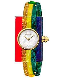Women's Swiss Plexiglas Watch Rainbow Short Bracelet Watch 24x40mm