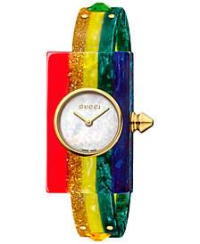 Gucci Women's Swiss Plexiglas Watch Rainbow Short Bracelet Watch 24x40mm YA143519
