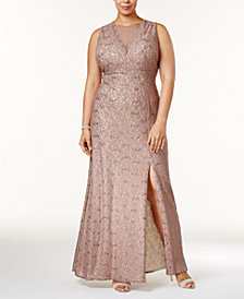 Nightway Plus Size Illusion Glitter Lace Gown