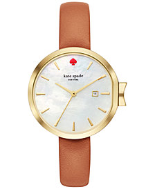 kate spade new york Women's Park Row Luggage Leather Strap Watch 34mm KSW1324