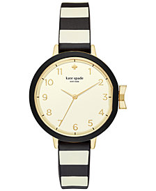 kate spade new york Women's Park Row Black & Ivory Striped Silicone Strap Watch 34mm KSW1313