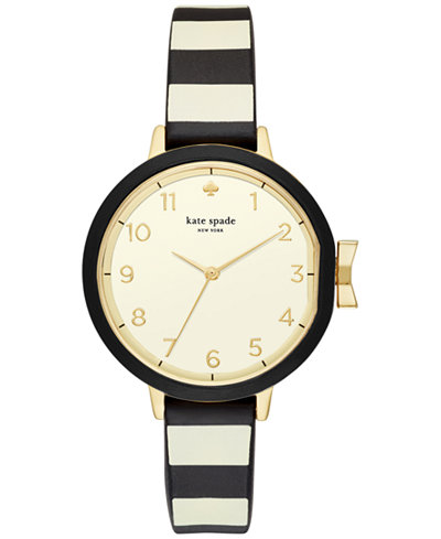 kate spade new york Women's Park Row Black & Ivory Silicone Strap Watch 34mm KSW1313