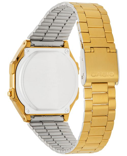 pretty nice 5e276 f44c4 Men's Digital Vintage Gold-Tone Stainless Steel Bracelet Watch 39x39mm  A168WG-9MV