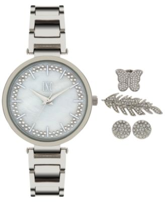 Image of INC International Concepts Women's April Silver-Tone Bracelet Watch and Accessory Set 34mm, Only at