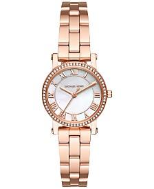 Michael Kors Women's Petite Norie Rose Gold-Tone Stainless Steel Bracelet Watch 28mm MK3558