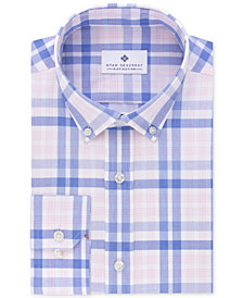 Ryan Seacrest Distinction™ Men's Slim-Fit Non-Iron Periwinkle Bold Check Dress Shirt, Created for Macy's