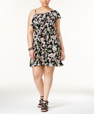 Almost Famous Trendy Plus Size One-Shoulder Floral-Print Dress
